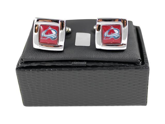 Colorado Avalanche NHL Sports Fan Team Logo Square Engraved Design Mens Cufflinks Gift Box Set 5/8