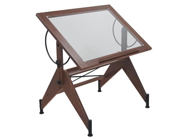Studio Aries Glass Top Drafting Table Dark Walnut / Black