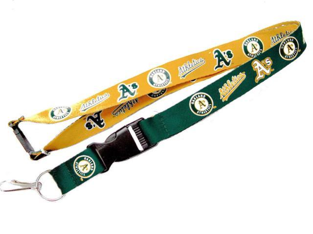 Oakland A's Reversible Clip Lanyard Keychain Id Ticket Holder - MLB
