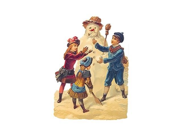 Alexander Taron Home Seasonal Decorative Accessories German Christmas Card - Children Building Snowman - 6.5