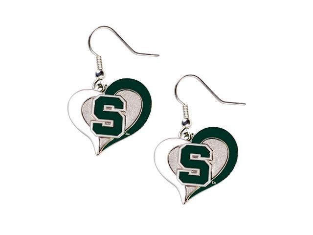 Michigan State Spartans Swirl Heart Dangle Logo Earring Set Charm Gift NCAA