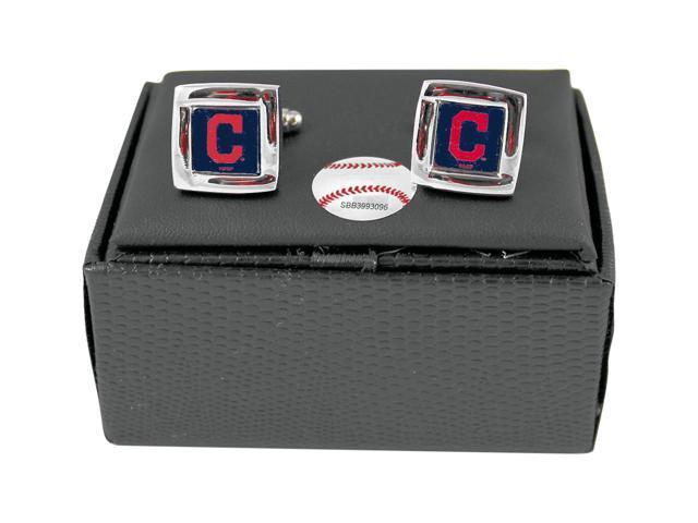 MLB Cleveland Indians Square Cufflinks With Square Shape engraved Logo design Gift Box Set
