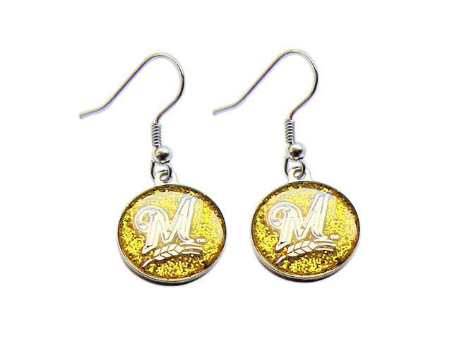 Milwaukee Brewers Glitter Dangle Logo Earring Set Mlb Charm Gift