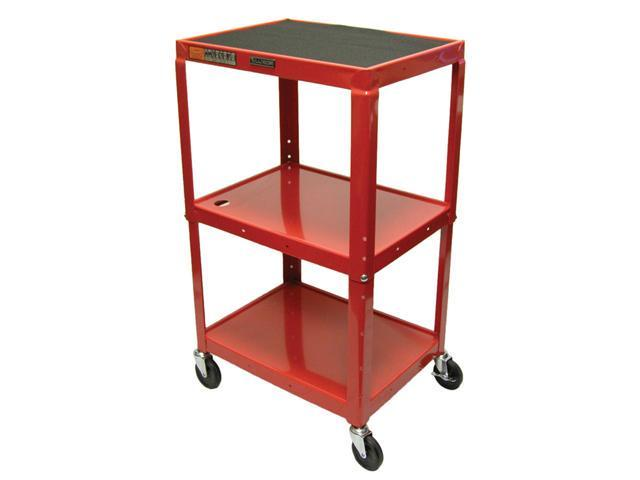 Luxor 3 Shelf Adjustable Height Metal Multimedia Multipurpose Rolling Storage Utility Computer Workstation Cart RED