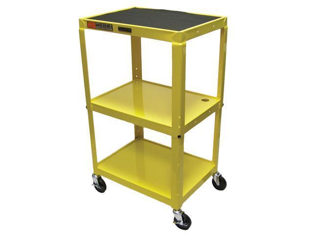 Luxor AVJ42 3 shelves Steel Adjustable Height AV Cart Yellow