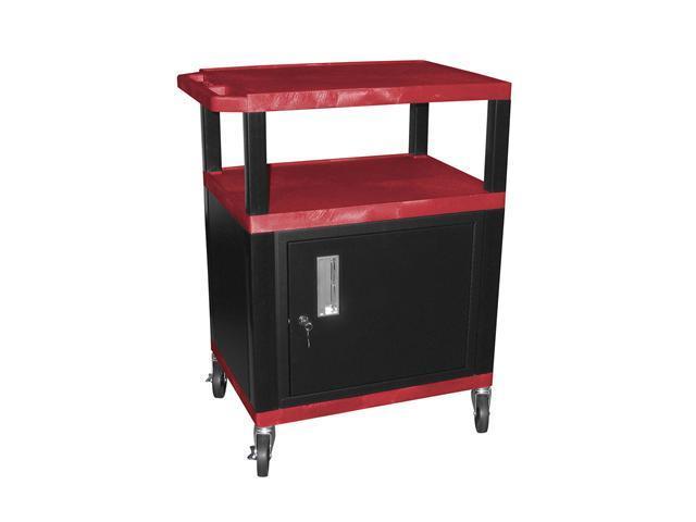 H Wilson WT34C2E-B 3 Shelves Tuffy AV Cart Red with Cabinet Putty Legs