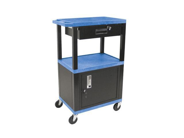 H Wilson WT42C2E-B/WTD Tuffy Cart Blue with Cabinet 3 Shelves Black Legs and Drawer