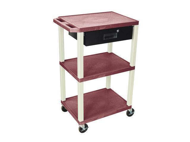H. Wilson Multipurpose Movable Storage Organizer Utility Cart Drawer 3 shelf Burgundy Putty Legs