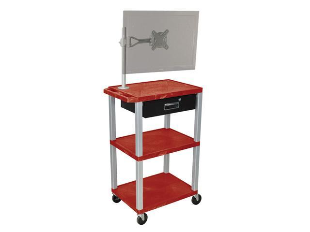 H. Wilson Multipurpose Utility Cart With Monitor Mount and Drawer Burgundy and Nickel