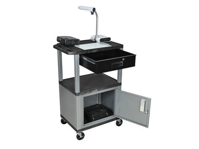 H. Wilson Multipurpose Movable Utility Cart Lockable Cabinet Drawer Push Handle Black Nickel Legs