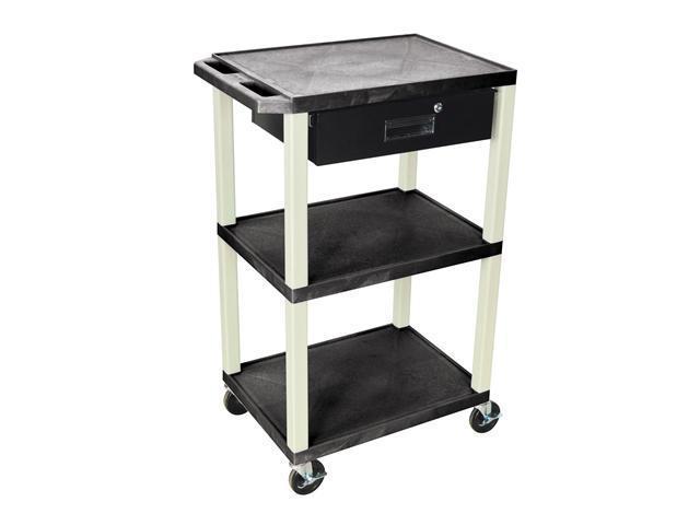 """H. Wilson 42""""H 3 Shelves Portable Multipurpose Multimedia Storage Utility Tuffy AV Cart With Black Pull Out Drawer"""