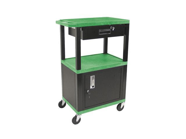 H. Wilson Multipurpose Movable Service Cart With Cabinet and Drawer-Green and Black