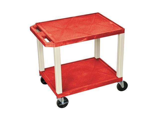 H. Wilson Red Shelves Purple Mobile Multimedia Presentation Multipurpose Storage Service Utility Cart Putty