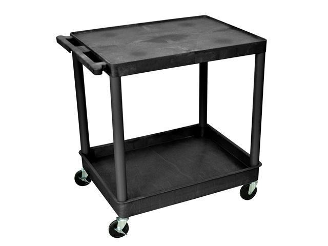 Luxor Large Flat Top & Tub Bottom Plastic Shelf Portable Multipurpose Kitchen Storage Utility Serving Cart Black