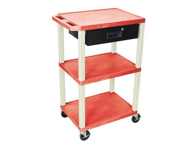 H. Wilson Movable Multipurpose Storage Organizer Utility Cart With Drawer Red Putty Legs