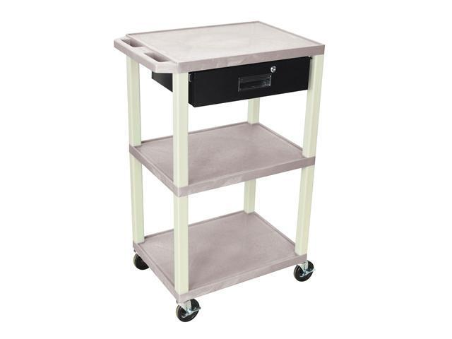 H. Wilson Multipurpose Utility Cart With Drawer Gray and Putty