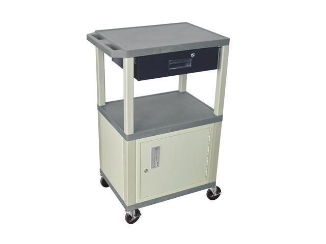 H Wilson WT42C3E/WTD Tuffy Cart Gray with Cabinet 3 Shelves Putty Legs with Drawer
