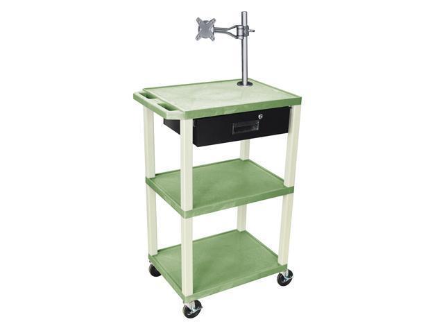 H. Wilson Multi Purpose Movable Presentation Cart Monitor Mount Locking Drawer Push Handle Green Putty Legs