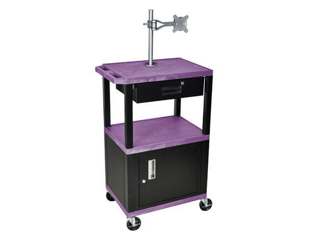 H Wilson WT42C2ME-B/WTD Tuffy Cart Purple with Cabinet 3 Shelves Black Legs with Drawer and Mount