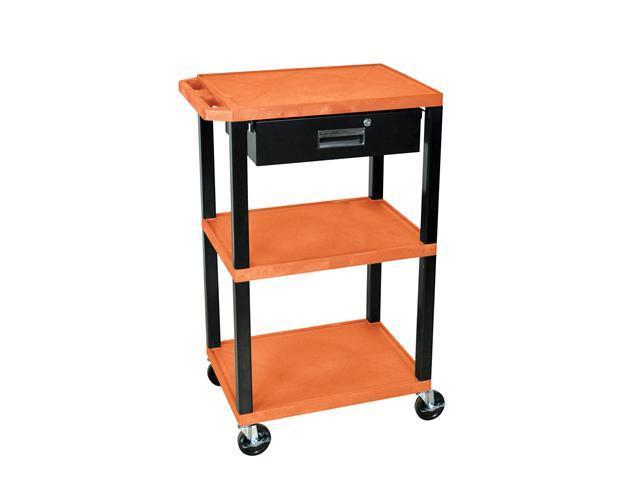 H. Wilson Movable Multipurpose Storage Organizer Utility Cart Push Handle Drawer Orange Black Legs