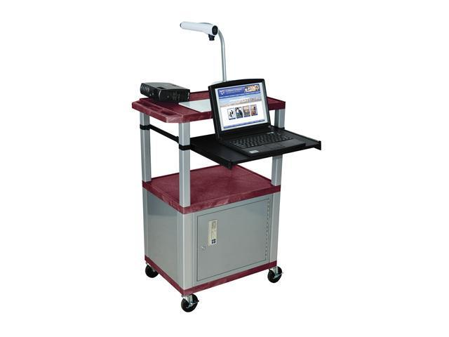 H Wilson WTPS42C4E-N Tuffy Front Pullout Shelf Cart Burgundy with Cabinet Nickel Legs