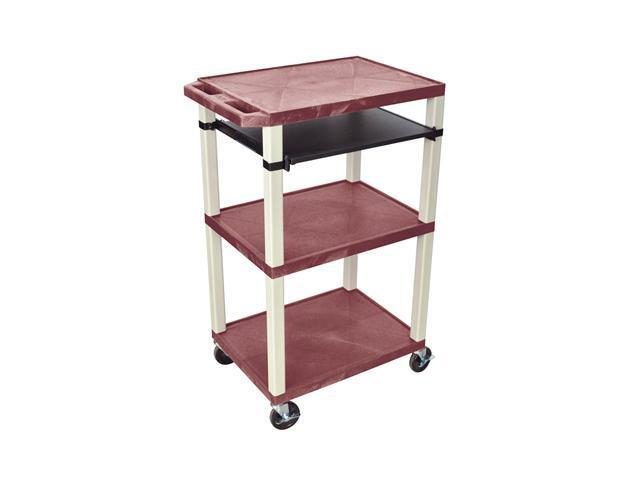 H. Wilson Rolling Multipurpose Audio Video Multimedia Presentation Cart Putty Tuffy Open Shelves Front Pull Out Tray Burgundy