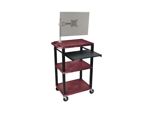 H. Wilson Multipurpose Rolling Multimedia Presentation AV Cart Table Black Monitor Mount Stand Pull Out Tray Burgundy