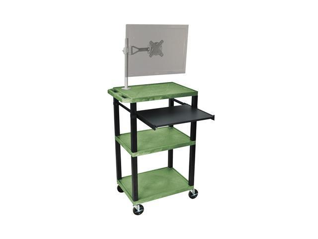H. Wilson Multipurpose Presentation Rolling AV Cart Table Black Monitor Mount Stand Pull Out Tray Green