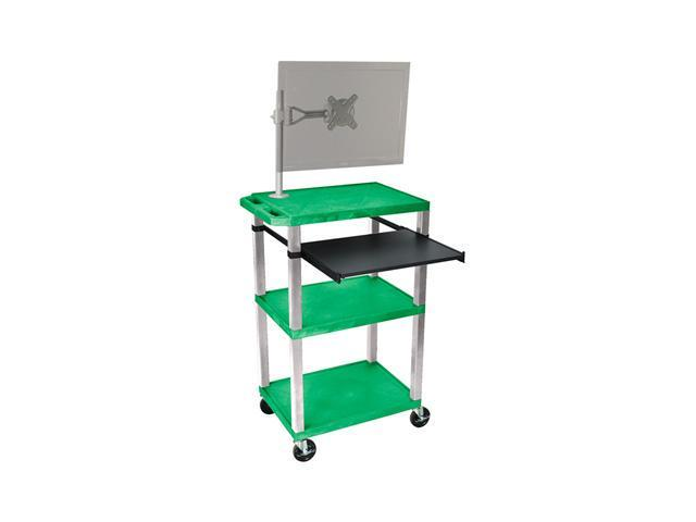 H. Wilson 3 Shelves Modern Mobile AV Presentation Multimedia Station Nickel Monitor Mount Stand Pull Out Tray Green