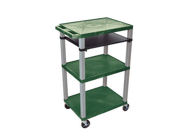 H Wilson WTPS42E-N Tuffy Front Pullout Shelf Carts Hunter Green Nickel Legs