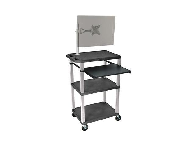 H. Wilson WTPS42ME-N Pullout Shelf Cart Nickel Legs with Monitor Mount Black