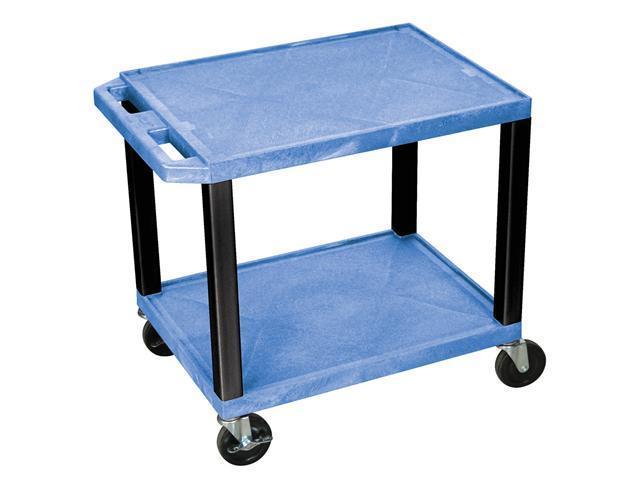 H. WILSON Mobile Multipurpose Storage Tuffy Utility Cart 2 shelf Push Handle Blue Black Legs