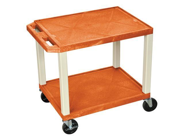 """Luxor Multipurpose 26"""" A/V Utility Storage Cart - Two Shelves Orange with Putty Legs"""