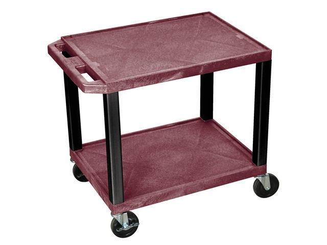 H.Wilson Mobile 26 '' Height Burgundy Multipurpose Storage Organizer Utility Tuffy AV Cart Push Handle With 2 Shelves And Black  Legs