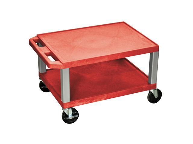 H. WILSON Portable 16'' H Red All Purpose Boardroom Service Utility Tuffy AV Cart With 2 Shelves And Nickel Legs