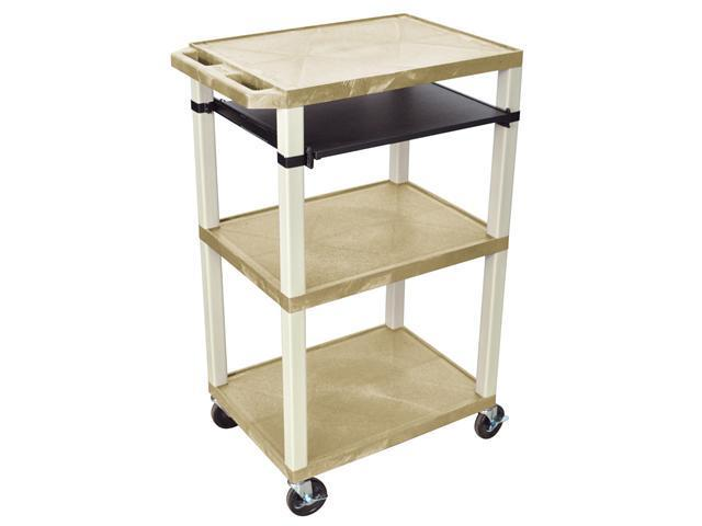 """H. Wilson Multimedia AV Presentation Stand Mobile Cart Putty Tuffy Open Shelves Pull Out Tray Tan 42"""""""