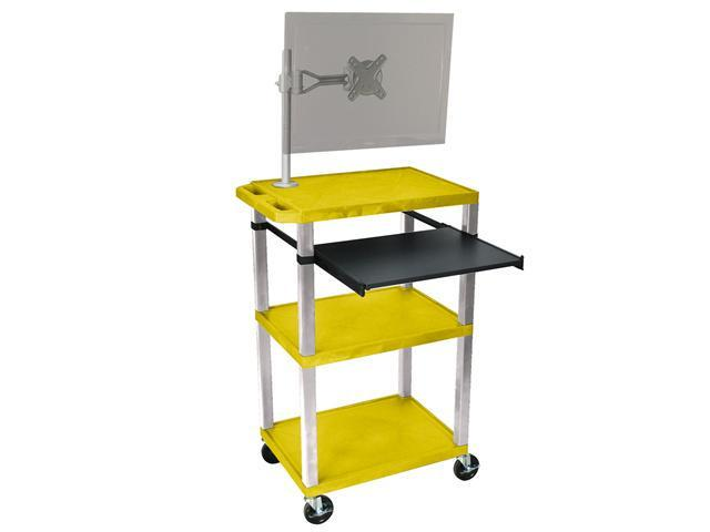 H. Wilson Portable Multipurpose Multimedia Presentation Cart with Monitor Mount and Pull Out Tray Yellow and Nickel