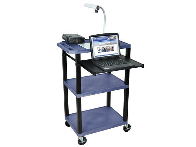 H Wilson WTPS42E-B Tuffy Front Pullout Shelf Carts Black Legs Navy