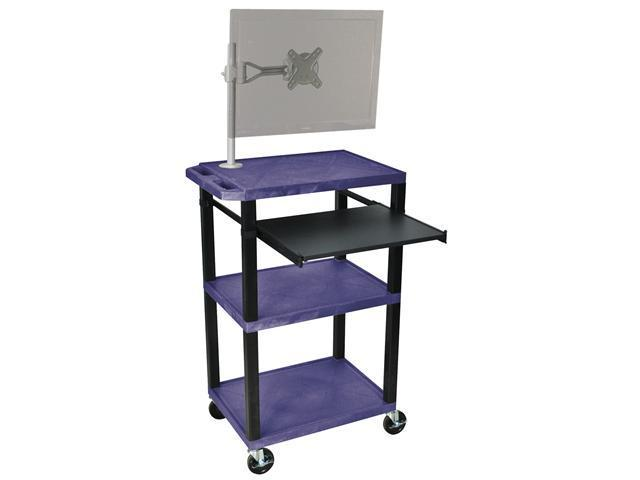 H. Wilson Mobile Multipurpose Multimedia Presentation Cart with Monitor Mount and Pull Out Tray Topaz and Black