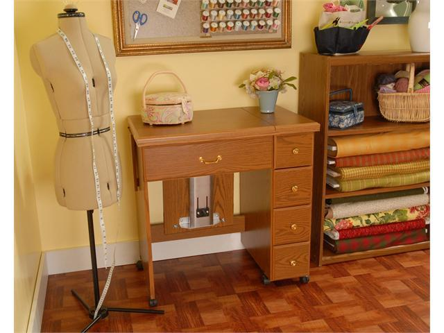 Arrow Sewing Cabinet Auntie Sewing Table With Shelves   Oak Finish