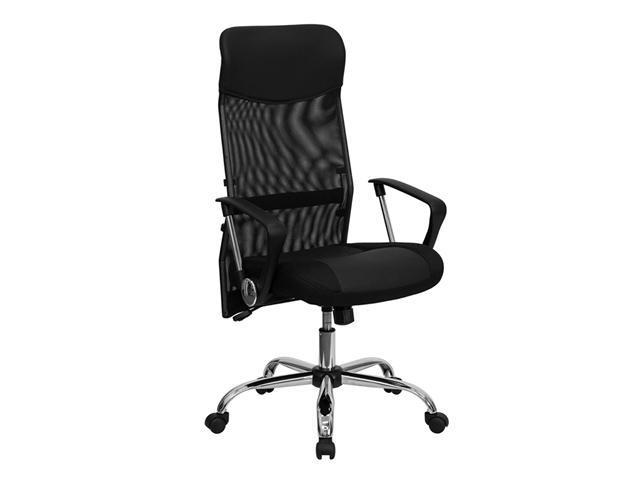 Flash Furniture High Back Black Split Leather Chair with Mesh Back