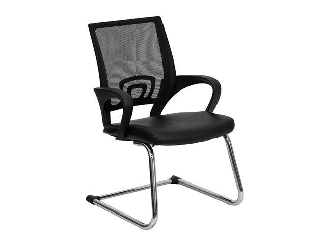Flash Furniture Black Leather Office Side Chair with Black Mesh Back and Sled Base [CP-D119A01-BK-GG]