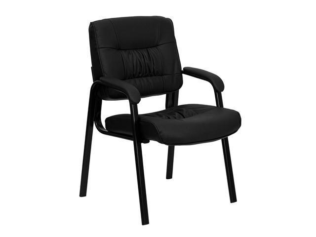 Flash Furniture Black Leather Guest Reception Waiting Room Chair with Black Frame Finish