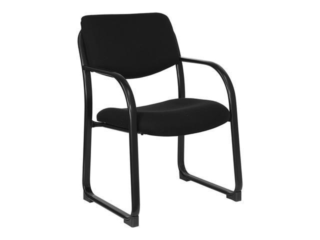 Flash Furniture Black Fabric Comfortable Executive Guest Side Reception Chair with Sled Base