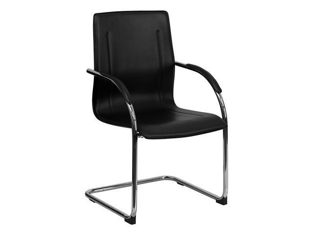 Flash Furniture Stackable Black Vinyl Leather Office Mesh Side Chair with Chrome Sled Base