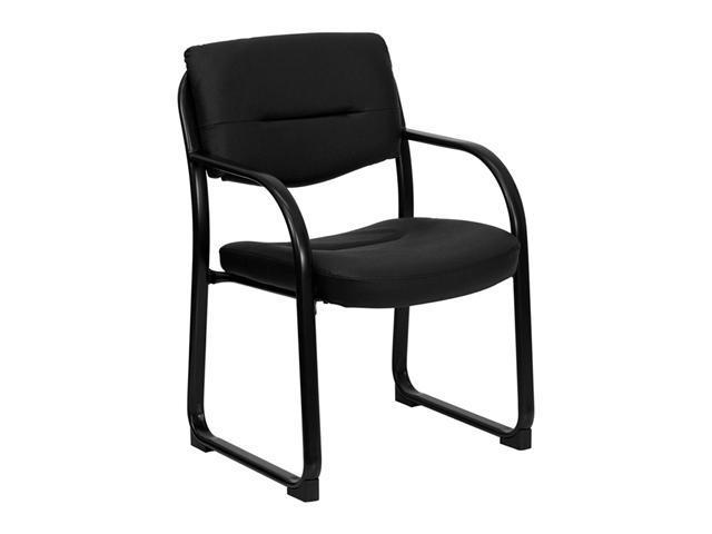 Offex Black Leather Executive Side Chair with Sled Base