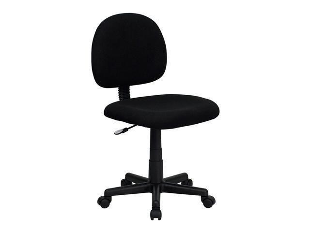Flash Furniture Mid-Back Ergonomic Black Fabric Mobile Computer Home Office Desk Task Chair with Adjustable Arms