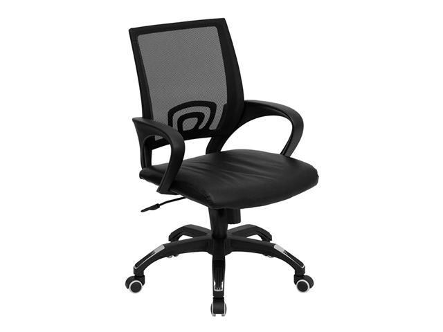Flash Furniture Mid-Back Black Adjustable Mesh Home Office Desk Computer Task Chair with Black Leather Seat