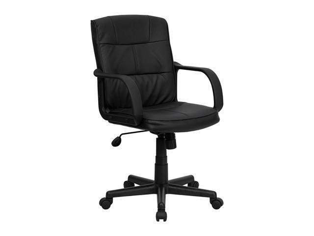 Offex Mid-Back Black Leather Office Chair with Nylon Arms