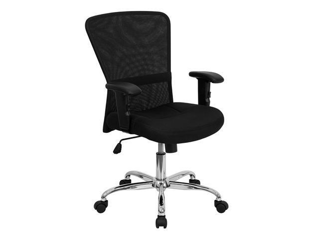 Offex Mid-Back Black Mesh Contemporary Computer Chair with Adjustable Arms and Chrome Base